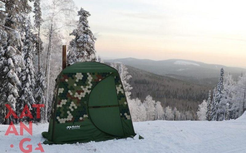 Баня на природе зимой